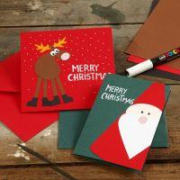 Kerstkaart met kerstfiguren van karton