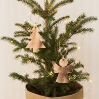 Engel en kerstboom van leerpapier
