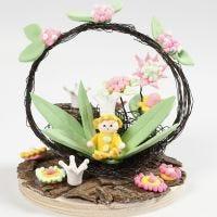 Miniatuur wereld met bloemenfee