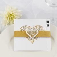 Menukaart voor een huwelijk met goud