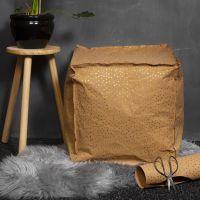 Poef van Faux Leather papier gevuld met styropor korrels