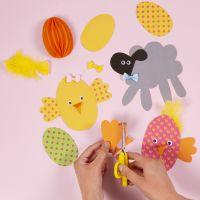 DIY pakket voor vrolijke kartonnen decoraties voor Pasen