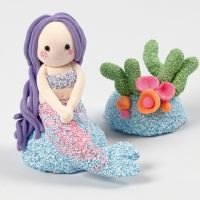 Zeemeermin en koraalrif van Foam Clay en Silk Clay