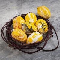 Terracotta eieren gedecoreerd met marmer effect