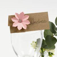 Plaatskaart met 3D bloemen van karton
