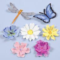 Geponste insecten en bloemen met 3D effect