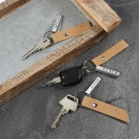Sleutelhanger met metalen en Faux Leather labels