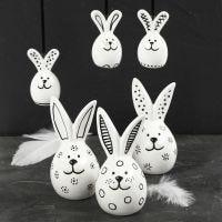 Porseleinen konijnen gedecoreerd met glas & porseleinstiften