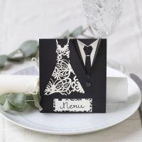 Menukaart voor huwelijk met trouwjurk en smoking