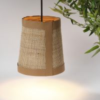 Lampenkap van Faux Leather en rotan