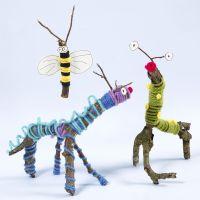 Dieren en insecten gemaakt van takken, wol en Sticky Base