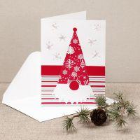 Kerstkaart met nieuwsgierige kerstkabouter van design papier