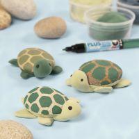 Schildpadden geverfd op stenen met Plus Color markers en Silk Clay