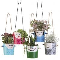 Amusing hanging flower pots with faces